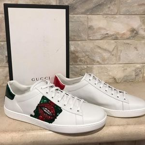 76e9c5c6743 Gucci Shoes - Gucci Ace White Leather Red Green Glitter Lips Low